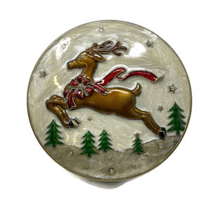 Enameled Round Jewelry Box Reindeer, Trees & Bows